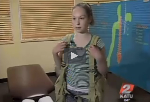 "Screen shot of KATU video ""Local physical therapist redesigns the backpack"""