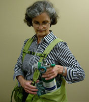 Showing BackTpack, an ergonomic oxygen bag