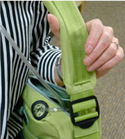 Close up of how BackTpack can be used as an ergonomic oxygen bag