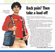 "News Article, ""Back Pain? Then take a load off"""