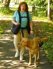 woman with guide dog using Backtpack