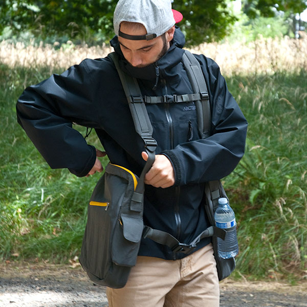 Front view of man wearing BackTpack 4 packed and In action