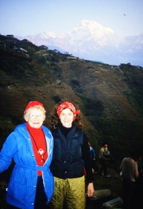 Sarah Semans and Marilyn Von Forester in the midst of their Himalayan trek.