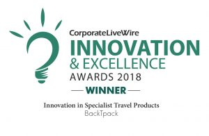 Image of the Innovation & Excellence Award for BackTpack in travel products