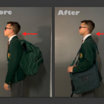 Posture comparison showing school boy with markedly improved Posture with BackTpack vs. Common backpack